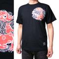ジャポリズム 半袖和柄Tシャツ 丸紋唐獅子図-黒