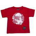 キッズ半袖和柄Tシャツ 丸紋唐獅子図-赤