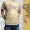 ジャポリズム 半袖和柄Tシャツ「麒麟走図」(キャメル)